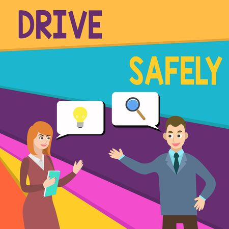 Text sign showing Drive Safely. Business photo showcasing you should follow the rules of the road and abide laws Business Partners Colleagues Jointly Seeking Problem Solution Generate Idea