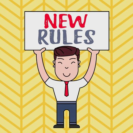 Text sign showing New Rules. Business photo showcasing A state of changing an iplemented policy for better upgrade Smiling Man Standing Holding Big Empty Placard Overhead with Both Hands