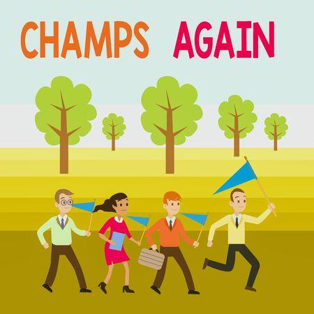 Wort schreiben Text Champs wieder. Die Präsentation von Geschäftsfotos bezieht sich auf Gewinner oder jemanden, der sich auszeichnet und Siege genießt Standard-Bild