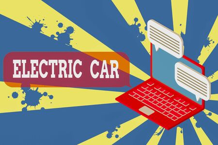 Writing note showing Electric Car. Business concept for an automobile that is propelled by one or more electric motors Laptop receiving sending information internet wireless