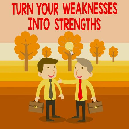 Text sign showing Turn Your Weaknesses Into Strengths. Business photo text work on your defects to get raid of them Two White Businessmen Colleagues with Brief Cases Sharing Idea Solution 스톡 콘텐츠