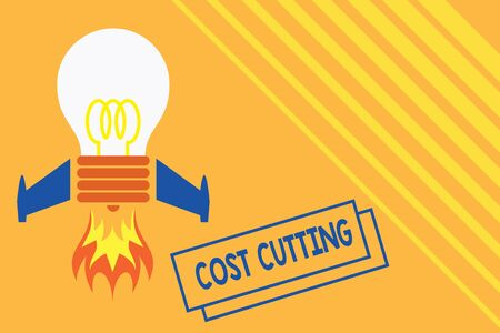 Conceptual hand writing showing Cost Cutting. Concept meaning actions taken to reduce the amount that is spent on a service Top view launching bulb rocket fire base Project Fuel idea