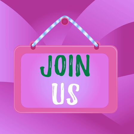 Handwriting text Join Us. Conceptual photo Register in community Team or blog Sign up at social media Board fixed nail frame string striped colored background rectangle panel Stock Photo