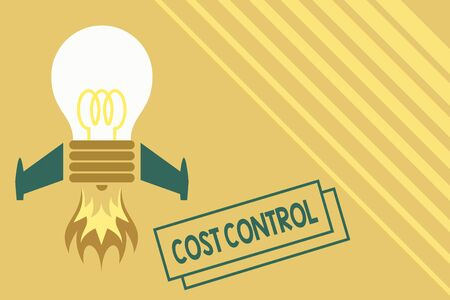 Conceptual hand writing showing Cost Control. Concept meaning practice of identifying and reducing business expenses Top view launching bulb rocket fire base Project Fuel idea