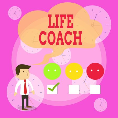 Writing note showing Life Coach. Business concept for A demonstrating who advices clients how to solve their problems or goals White Questionnaire Survey Choice Satisfaction Green Tick Фото со стока