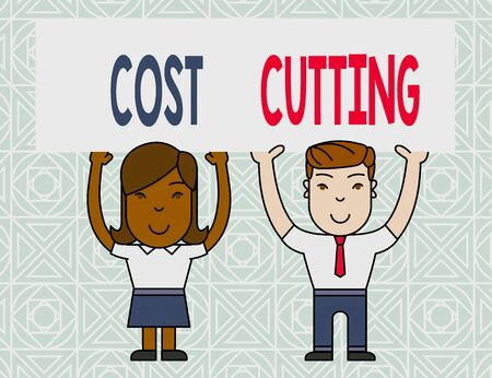 Word writing text Cost Cutting. Business photo showcasing actions taken to reduce the amount that is spent on a service Two Smiling People Holding Big Blank Poster Board Overhead with Both Hands