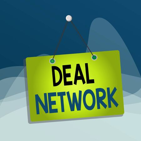 Writing note showing Deal Network. Business concept for platform for secure document sharing and collaboration Memo reminder empty board attached background rectangle