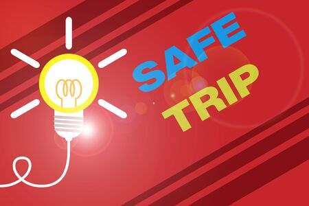 Conceptual hand writing showing Safe Trip. Concept meaning wishing someone to reach his destination in good health Idea light bulb Successful turning idea invention Startup