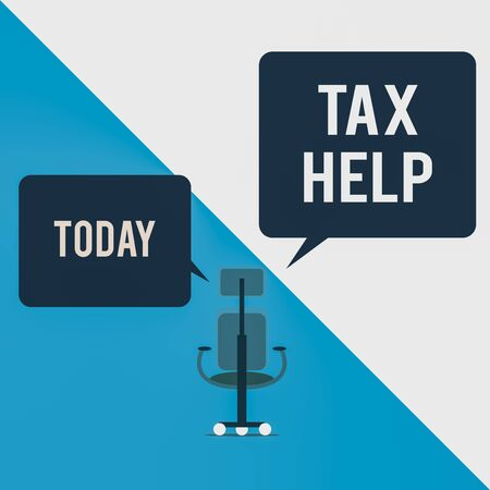 Text sign showing Tax Help. Business photo text Assistance from the compulsory contribution to the state revenue Executive chair sharing two blank square speech bubbles right left side