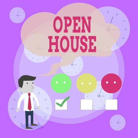 Writing note showing Open House. Business concept for you can come whatever whenever want Make yourself at home White Questionnaire Survey Choice Satisfaction Green Tick