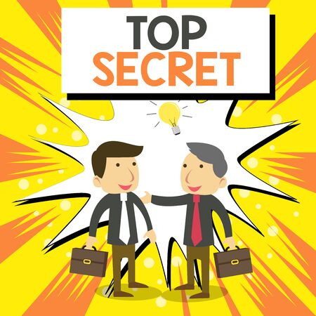 Conceptual hand writing showing Top Secret. Concept meaning telling someone important data or information that he cant tell Businessmen Colleagues with Brief Case Sharing Idea Solution Imagens