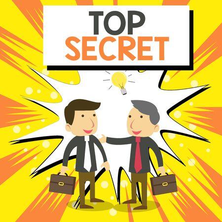 La main conceptuel montrant Top Secret. Signification du concept de dire à quelqu'un des données ou des informations importantes qu'il ne peut pas dire à des collègues d'affaires avec une brève solution d'idée de partage de cas Banque d'images