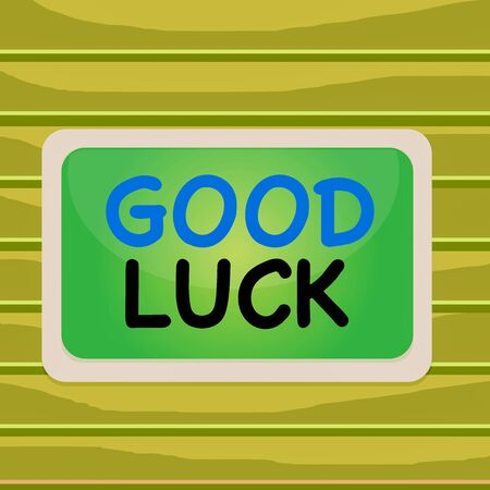 Conceptual hand writing showing Good Luck. Concept meaning A positive fortune or a happy outcome that a demonstrating can have Board rectangle white frame empty fixed color surface plank Stock Photo