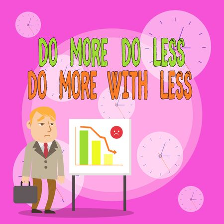 Writing note showing Do More Do Less Do More With Less. Business concept for dont work hard work smart be unique Businessman with Brief Case Standing Whiteboard Bar Chart