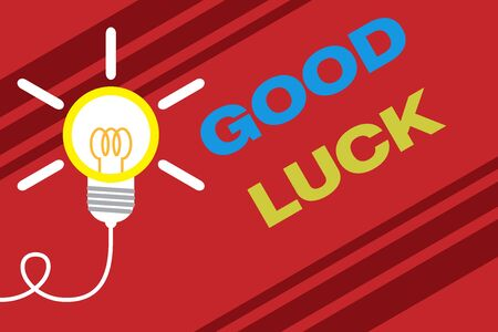 Conceptual hand writing showing Good Luck. Concept meaning A positive fortune or a happy outcome that a demonstrating can have Idea light bulb Successful turning idea invention Startup