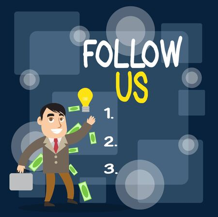Writing note showing Follow Us. Business concept for Act of demonstrating to invite an individual or group to join his company Successful Businessman Generating Idea or Finding Solution Stockfoto