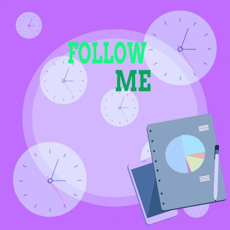 Writing note showing Follow Me. Business concept for Inviting a demonstrating or group to obey your prefered leadership Layout Smartphone Off Ballpoint Notepad Business Pie Chart