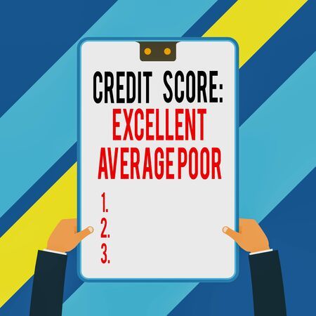 Word writing text Credit Score Excellent Average Poor. Business photo showcasing Level of creditworthness Rating Report Two executive male hands holding electronic device geometrical background