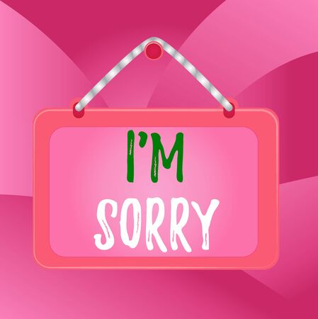 Handwriting text I'M Sorry. Conceptual photo Task for forgiveness to someone you unintentionally hurt Board fixed nail frame string striped colored background rectangle panel