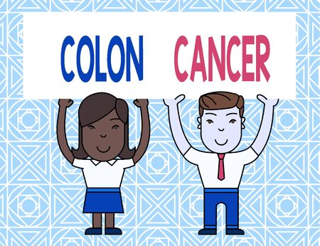Word writing text Colon Cancer. Business photo showcasing the development of cancer cells from the colon or rectum Two Smiling People Holding Big Blank Poster Board Overhead with Both Hands