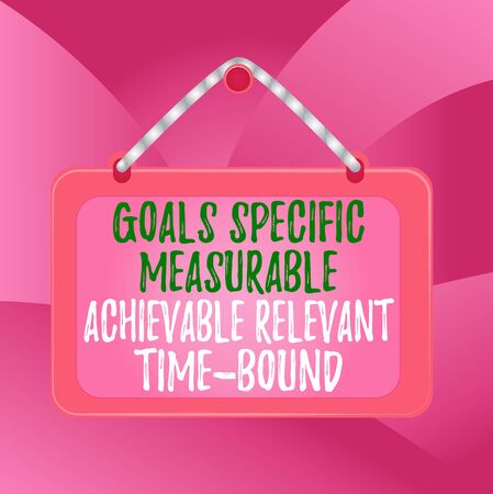Handwriting text Goals Specif Measureable AC. Conceptual photo Goals Specific Measurable Achievable Relevant Time Bound Board fixed nail frame string striped colored background rectangle panel