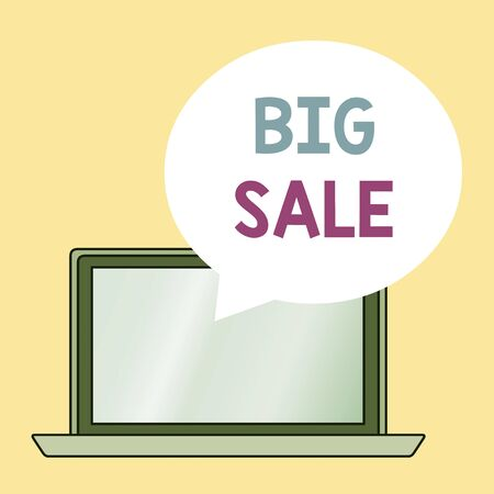 Conceptual hand writing showing Big Sale. Concept meaning putting products on high discount Great price Black Friday Round Shape Speech Bubble Floating Over Laptop Backdrop