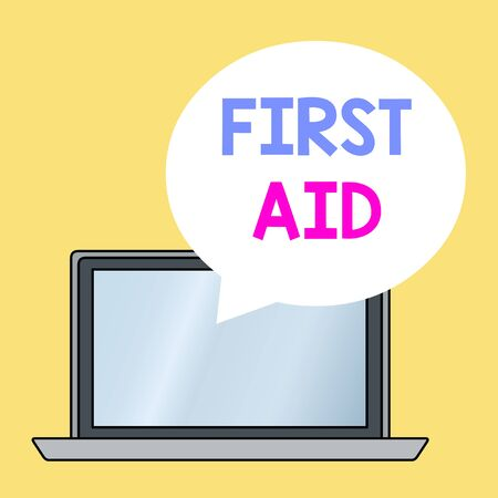Conceptual hand writing showing First Aid. Concept meaning Practise of healing small cuts that no need for medical training Round Shape Speech Bubble Floating Over Laptop Backdrop