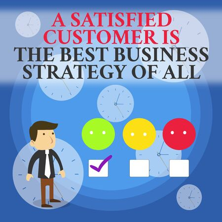 Text sign showing A Satisfied Customer is the be. Business photo showcasing A Satisfied Customer Is The Best Business Strategy Of All White Male Questionnaire Survey Choice Checklist Satisfaction Green Tick
