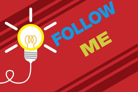 Conceptual hand writing showing Follow Me. Concept meaning Inviting a demonstrating or group to obey your prefered leadership Idea light bulb Successful turning idea invention Startup Stockfoto