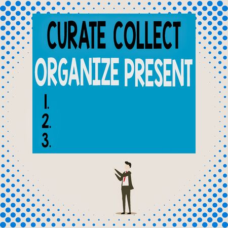 Handwriting text Curate Collect Organize Present. Conceptual photo Pulling out Organization Curation Presenting Isolated view young man standing pointing upwards two hands big rectangle