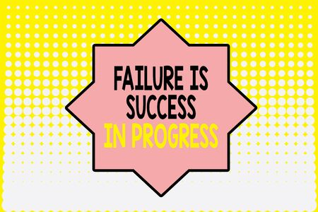 Writing note showing Failure Is Success In Progress. Business concept for You have to make mistakes for improvement Vanishing dots middle background design. Gradient Pattern. Futuristic Imagens
