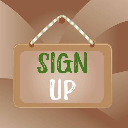 Handwriting text Sign Up. Conceptual photo use your information to register in website team college or blog Board fixed nail frame string striped colored background rectangle panel