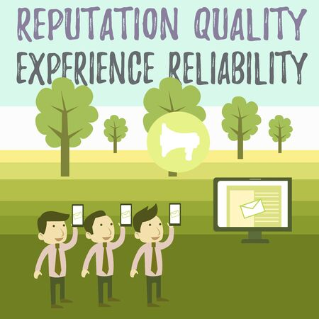 Writing note showing Reputation Quality Experience Reliability. Business concept for Customer satisfaction Good Service SMS Email Marketing Media Audience Attraction PC Loudspeaker