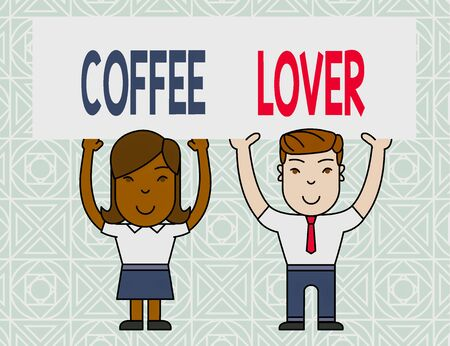 Word writing text Coffee Lover. Business photo showcasing a demonstrating who loves or has a fondness of drinking coffee Two Smiling People Holding Big Blank Poster Board Overhead with Both Hands