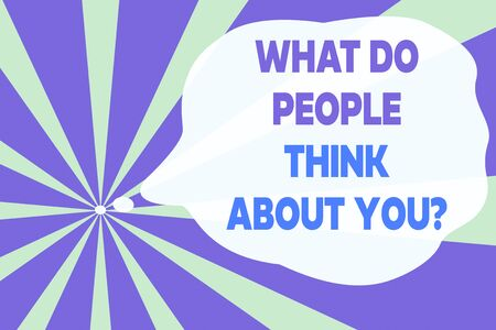 Text sign showing What Do People Think About You Question. Business photo text Opinion of others Considerations Abstract geometric deep design. Simulating depth background. Futuristic