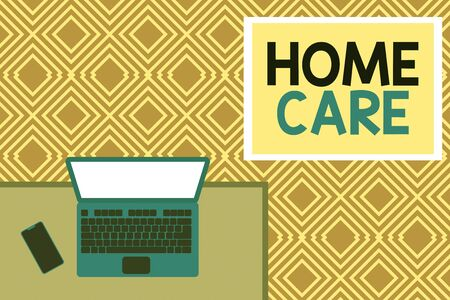 Conceptual hand writing showing Home Care. Concept meaning Place where showing can get the best service of comfort rendered Office working place laptop lying wooden desk smartphone Stok Fotoğraf