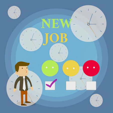 Text sign showing New Job. Business photo showcasing signing contract Finding work opportunity Seeking better salary White Male Questionnaire Survey Choice Checklist Satisfaction Green Tick