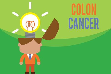 Text sign showing Colon Cancer. Business photo text the development of cancer cells from the colon or rectum Standing successful man suit necktie surging brilliant innovative solutions Фото со стока