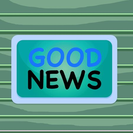 Conceptual hand writing showing Good News. Concept meaning Someone or something positive,encouraging,uplifting,or desirable Board rectangle white frame empty fixed color surface plank