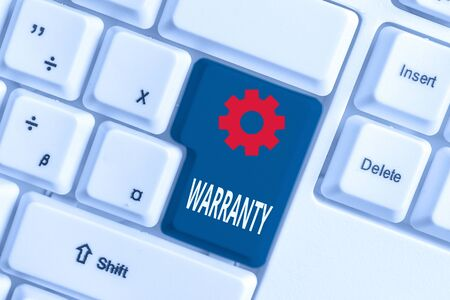 Word writing text Warranty. Business photo showcasing Free service of repair and maintenance of the product sold White pc keyboard with empty note paper above white background key copy space Imagens