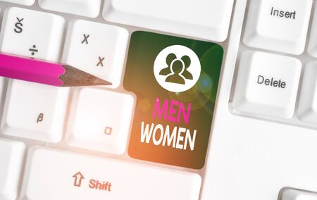 Text sign showing Men Women. Business photo text The state where in a boy or a girl turns to be a mature adult White pc keyboard with empty note paper above white background key copy space