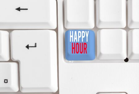 Handwriting text writing Happy Hour. Conceptual photo Spending time for activities that makes you relax for a while White pc keyboard with empty note paper above white background key copy space Reklamní fotografie