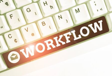 Conceptual hand writing showing Workflow. Concept meaning Continuity of a certain task to and from an office or employer White pc keyboard with note paper above the white background