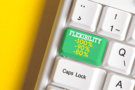 Conceptual hand writing showing Flexibility 100 Percent 90 Percent 80 Percent. Concept meaning How much flexible you are maleability level White pc keyboard with note paper above the white background