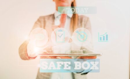 Text sign showing Safe Box. Business photo text A small structure where you can keep important or valuable things Female human wear formal work suit presenting presentation use smart device