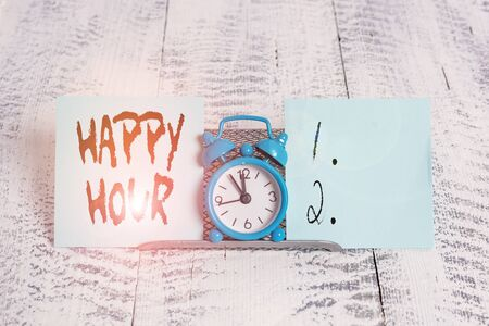 Conceptual hand writing showing Happy Hour. Concept meaning Spending time for activities that makes you relax for a while