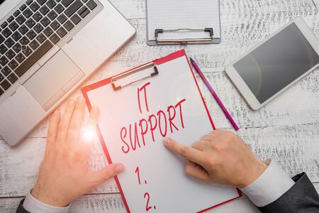 Word writing text It Support. Business photo showcasing Lending help about information technologies and relative issues