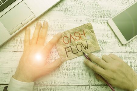 Handwriting text writing Cash Flow. Conceptual photo Movement of the money in and out affecting the liquidity
