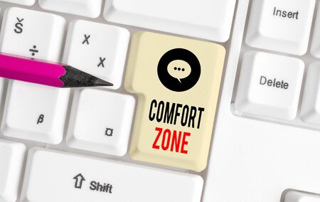 Writing note showing Comfort Zone. Business concept for place or situation where one feels safe and without stress White pc keyboard with note paper above the white background