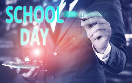 Text sign showing School Day. Business photo showcasing starts from seven or eight am to three pm get taught there Male human wear formal work suit presenting presentation using smart device